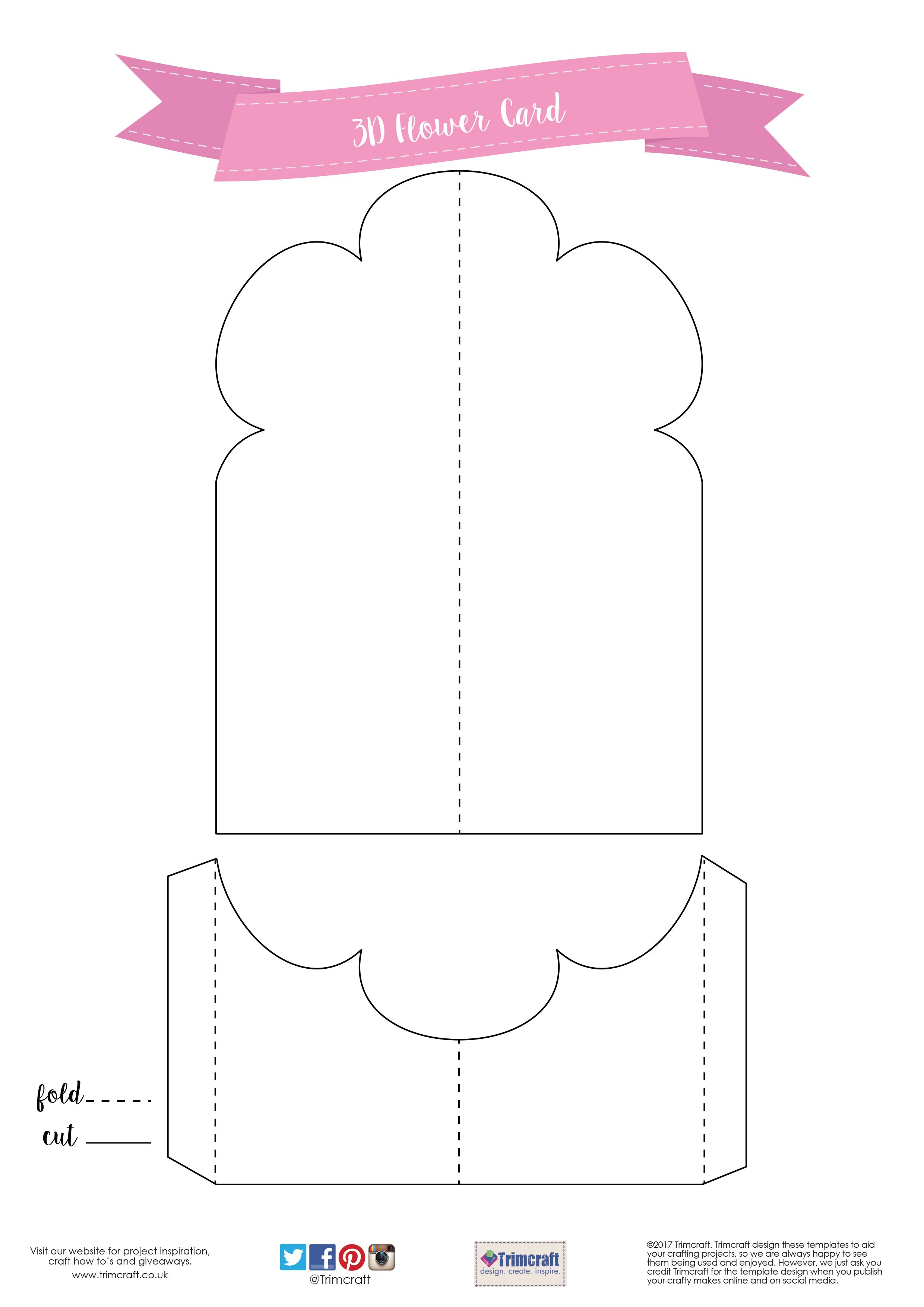 Card Shape Of The Month 3d Flower Card Making Tutorial With Free Printable Template Card Making Templates Cards Card Templates Free