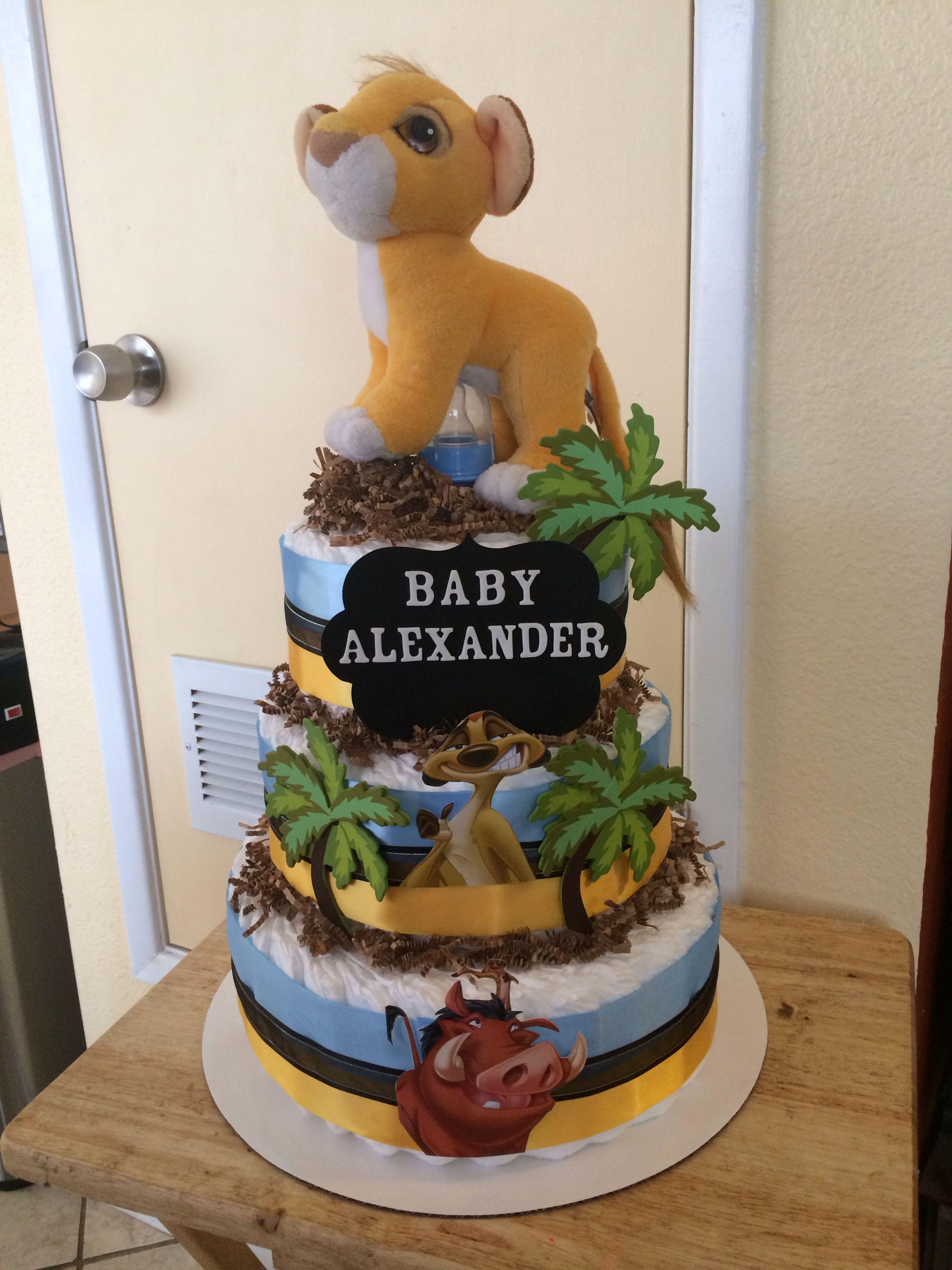 Lion King Diaper Cake Lion Baby Shower Lion Baby Shower Cake