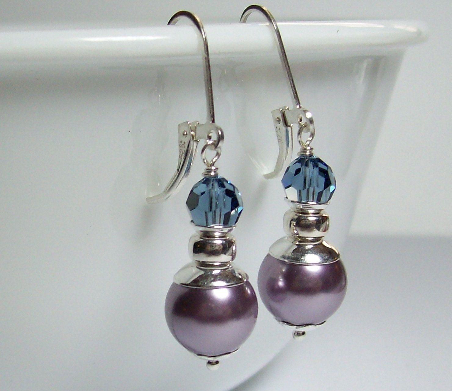 Sterling Silver Swarovski Pearl Earrings. Mauve Pearl Earrings. Swarovski  Dangle Earrings. Modern Style. Career Wear. Mauve and Blue. by  VickieJoesJewels on ... b52839e5a0