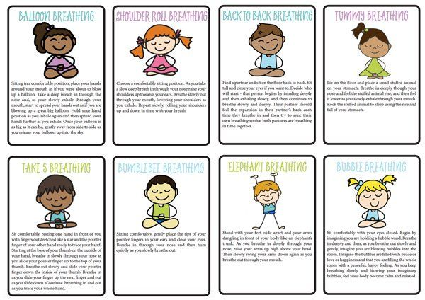 8 Fun Breathing Exercises For Kids At Home Or School Printable Exercise For Kids Yoga For Kids Mindfulness For Kids