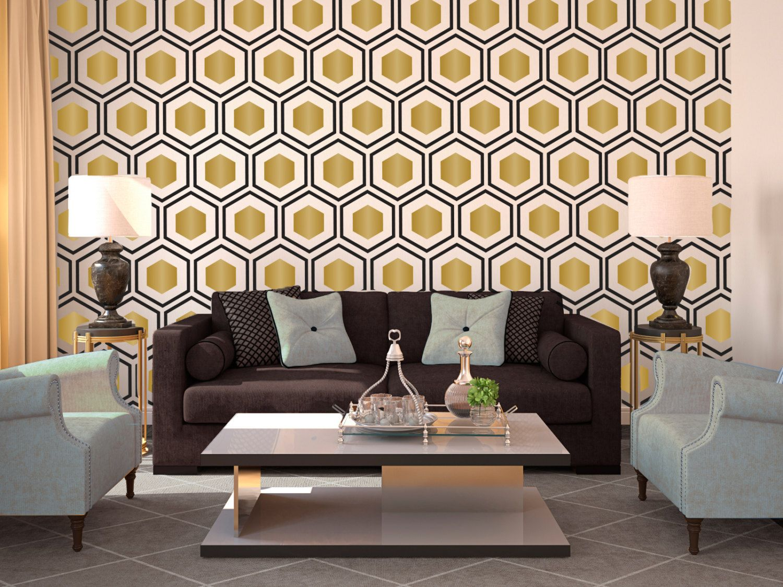 Hexagon Wall Pattern Decal Modern Geometric Art Deco Design Wall - Custom vinyl wall decals for classrooms
