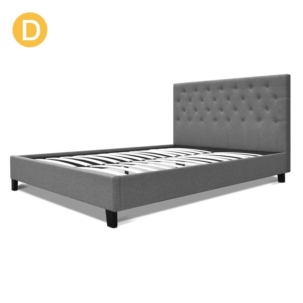 Bed Frame Linen Fabric Button Steel Beam W Slats Grey Double