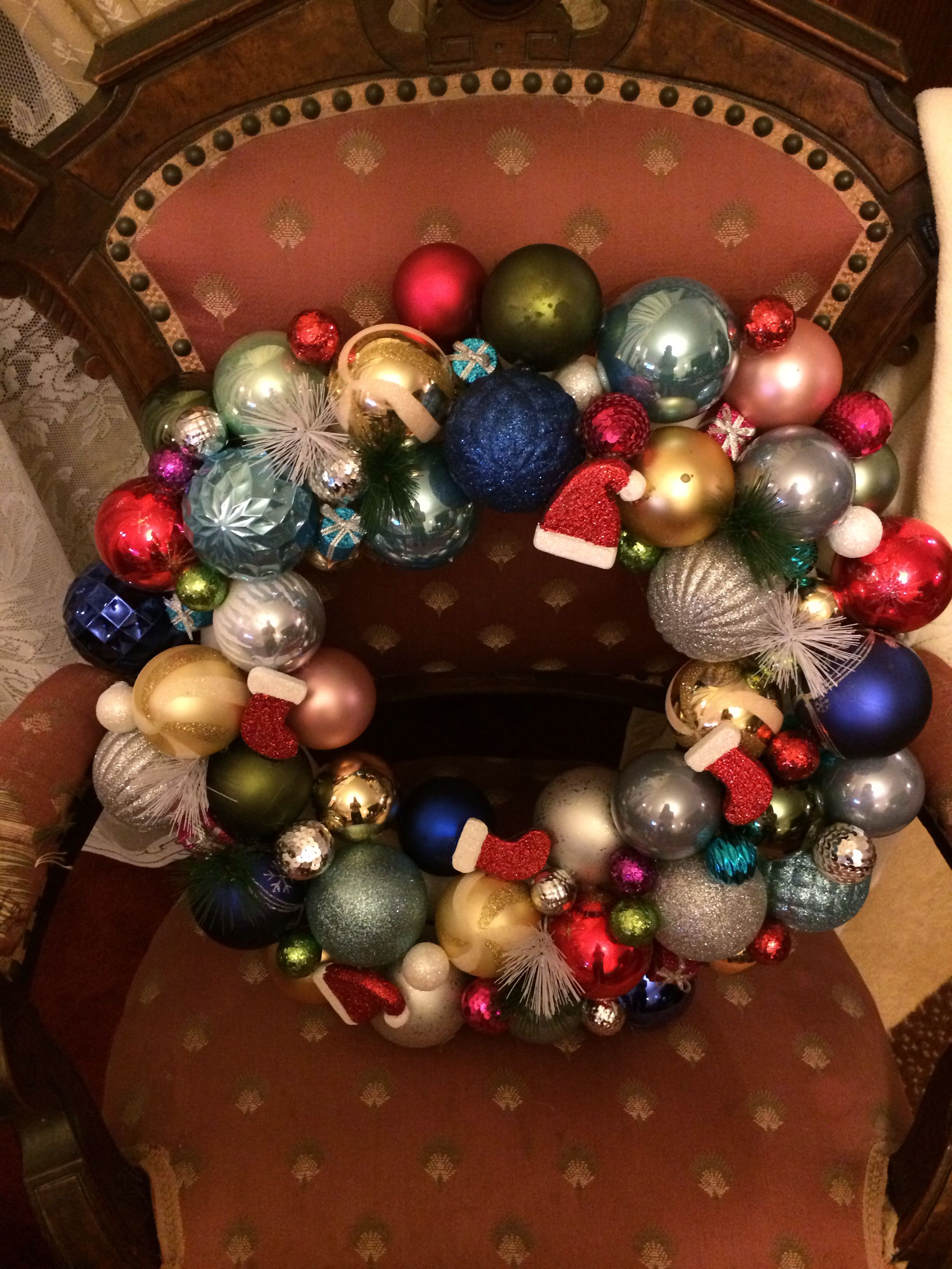 I made this Christmas wreath.. Pretty impressed..