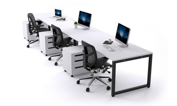 Litewall Evolve 3 Person Office Workstation Desk Run 1200l X 800w