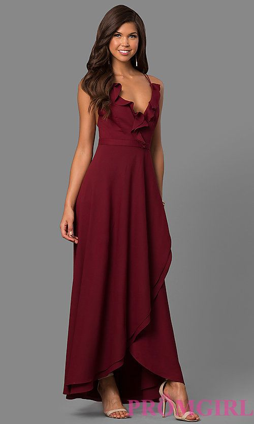 9b7f749dd88 Image of mock-wrap long prom dress with ruffled v-neck. Style  MT-8606  Front Image