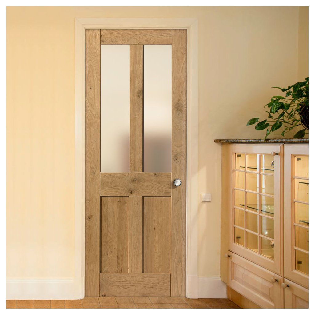 Rustic Oak Shaker 2 Panel 2 Pane Prefinished Door With Clear Safety