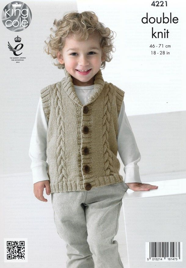 Boys Waistcoat and Cardigan in King Cole Big Value Baby DK