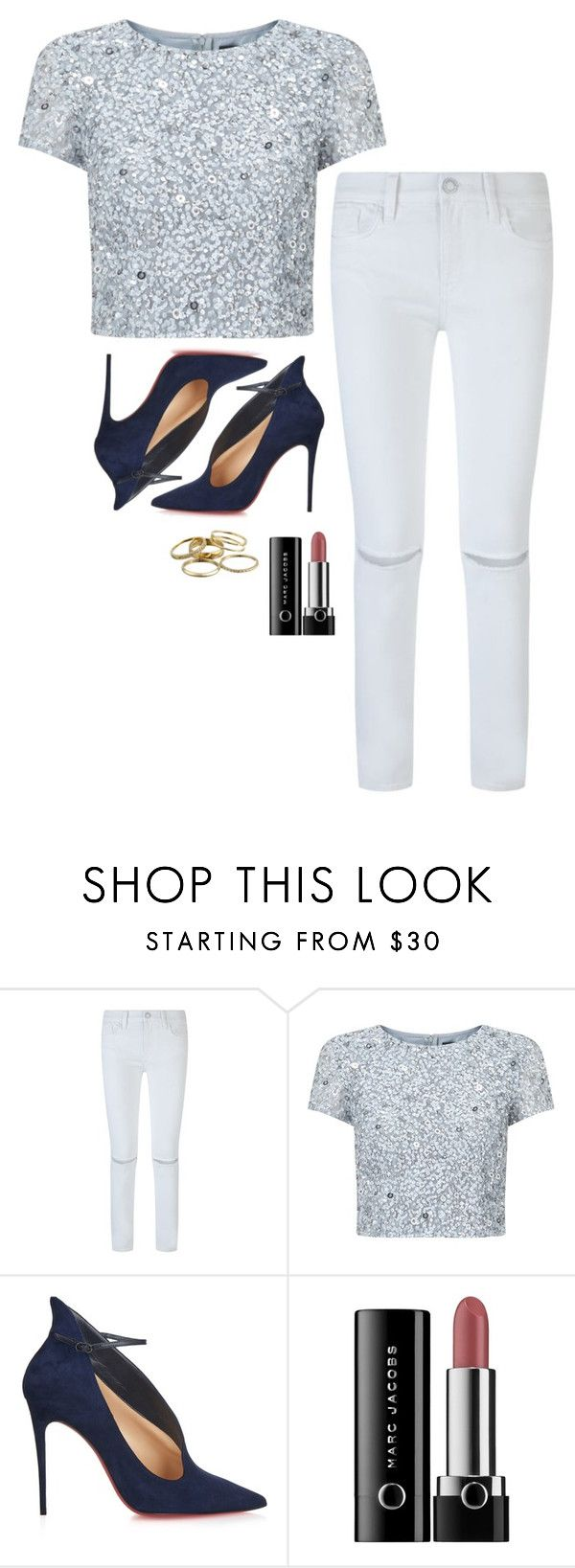 """""""Selena Gomez Inspired Outfit"""" by daniellakresovic ❤ liked on Polyvore featuring Rebecca Minkoff, Adrianna Papell, Christian Louboutin, Marc and Kendra Scott"""