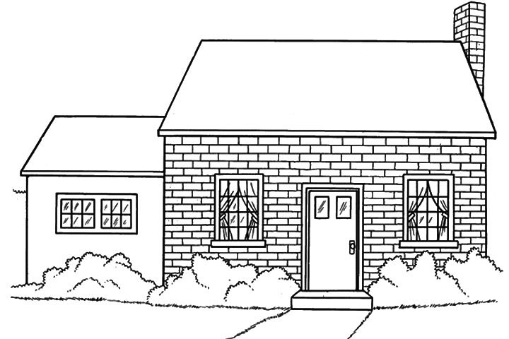 Roof And Chimney Coloring Page Crokky Coloring Pages Brick House