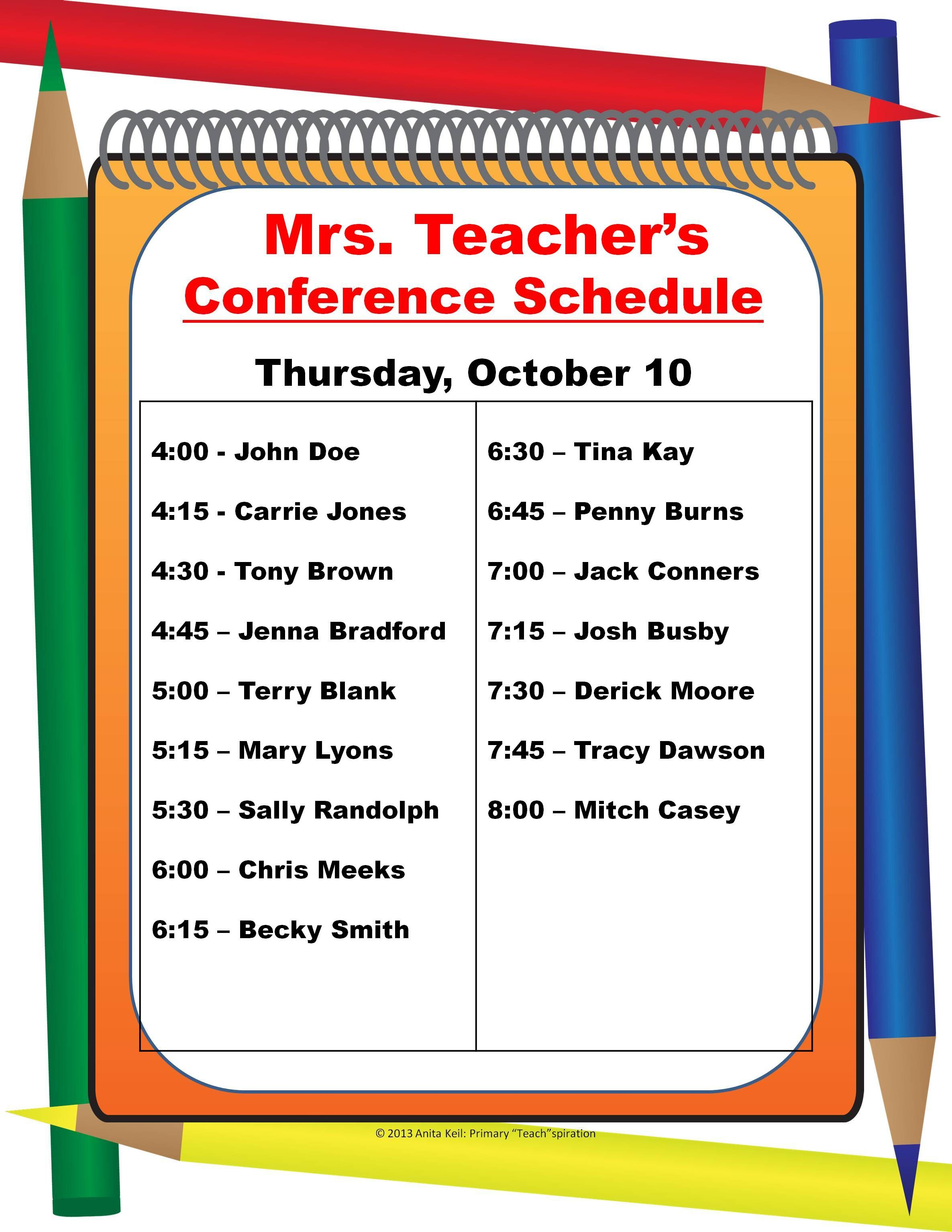 Parent Teacher Conference Schedule Poster