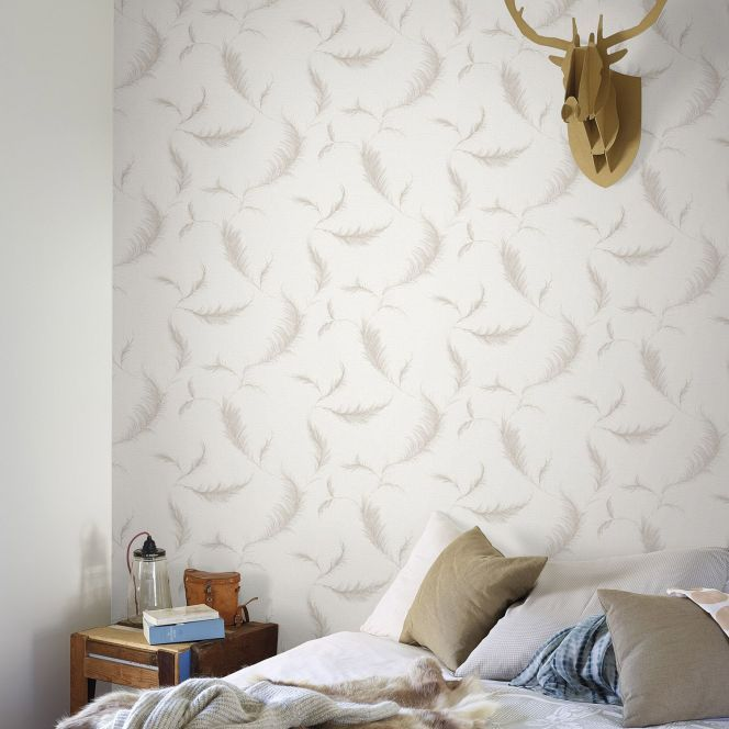 Des plumes sur vos murs gr ce ce papier peint leroy merlin http www m ha - Papier peint vintage leroy merlin ...