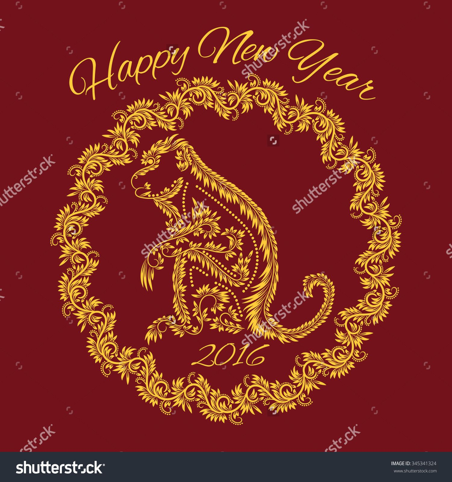 Fiery Monkey Year Greeting Card Template Floral Patterned