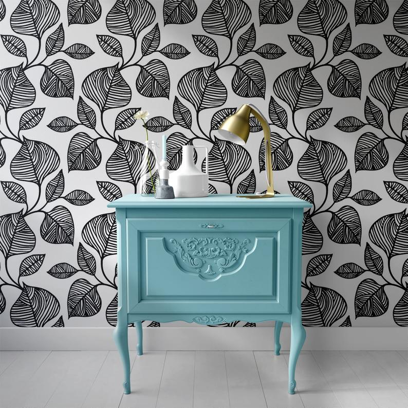 Removable Wallpaper Self Adhesive Wallpaper Handdrawn Blue Etsy Peel And Stick Wallpaper Best Removable Wallpaper Removable Wallpaper