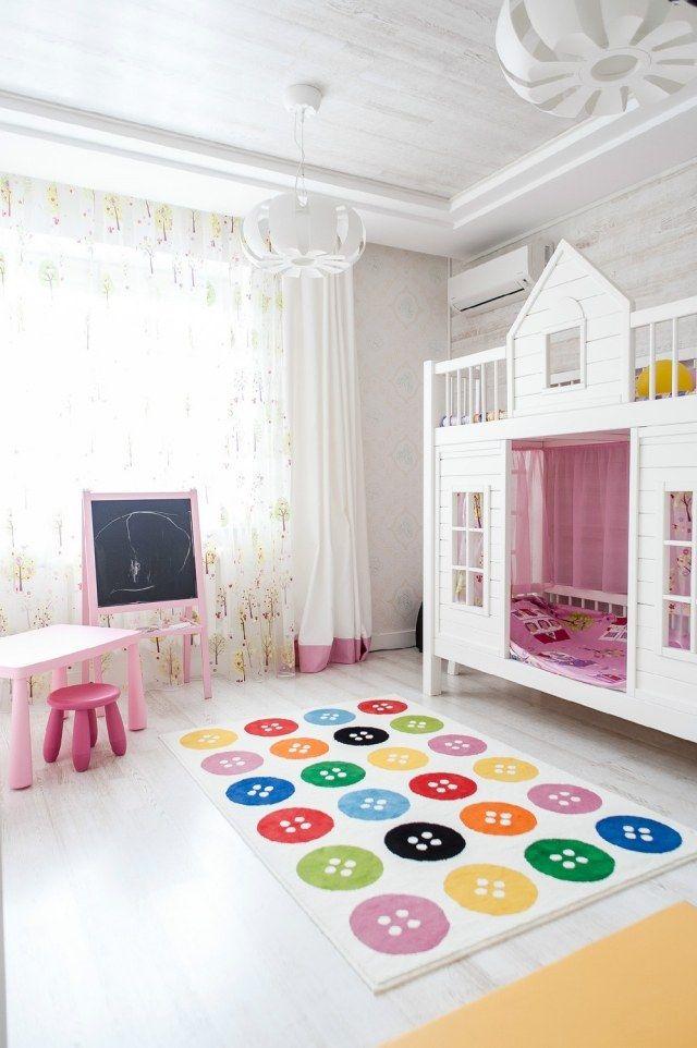 Kinderzimmer Mädchen Einrichten Etagenbett Haus Rosa Weiß