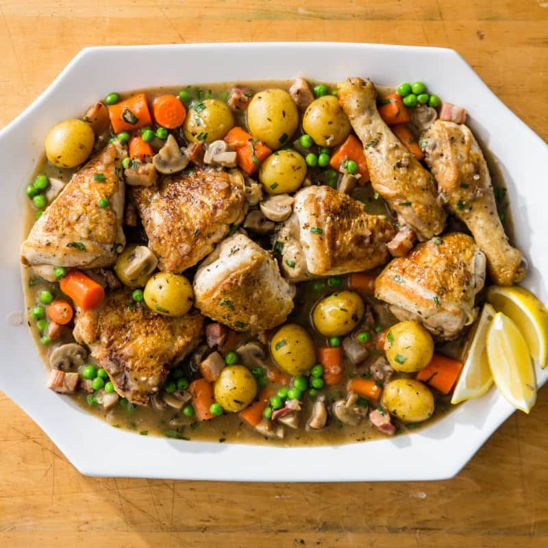 One Pot Chicken Jardiniere Cook S Country Recipe One Pot Chicken Cooking Dinner Sheet Pan Recipes