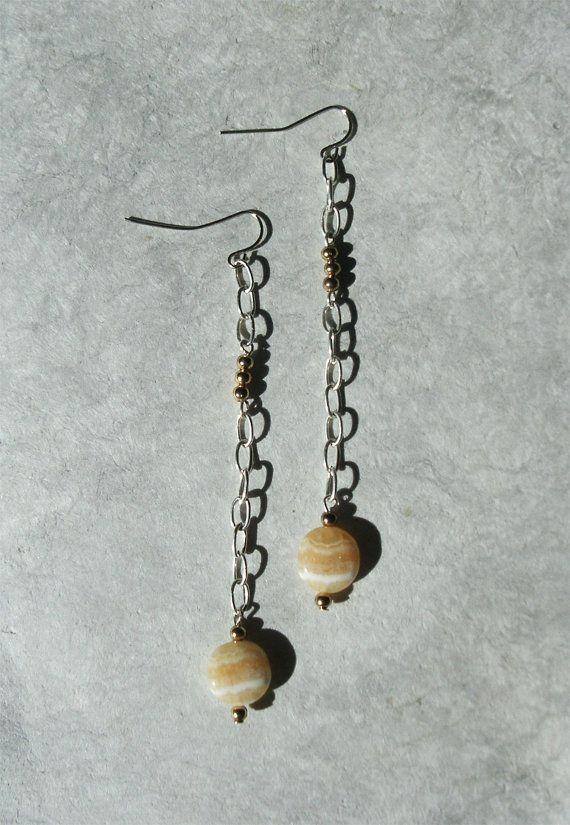 Honey white Pendulum Earrings, Natural Stone Earrings