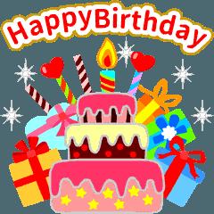 動く お誕生日 ゴールド バースデーケーキ イラスト 誕生日おめでとう メッセージ