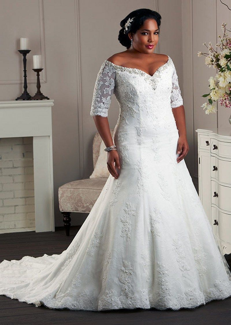 Lace plus size wedding dresses sleeves bridal gowns with laceup