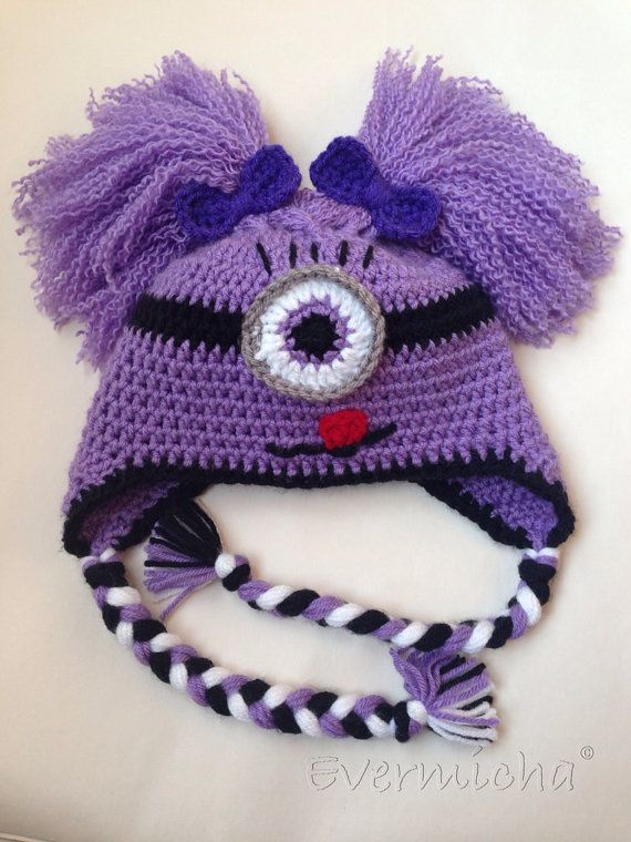 Too Cute To Be Evil Purple Minion Girl Earflap Hat by Evermicha, $25 ...