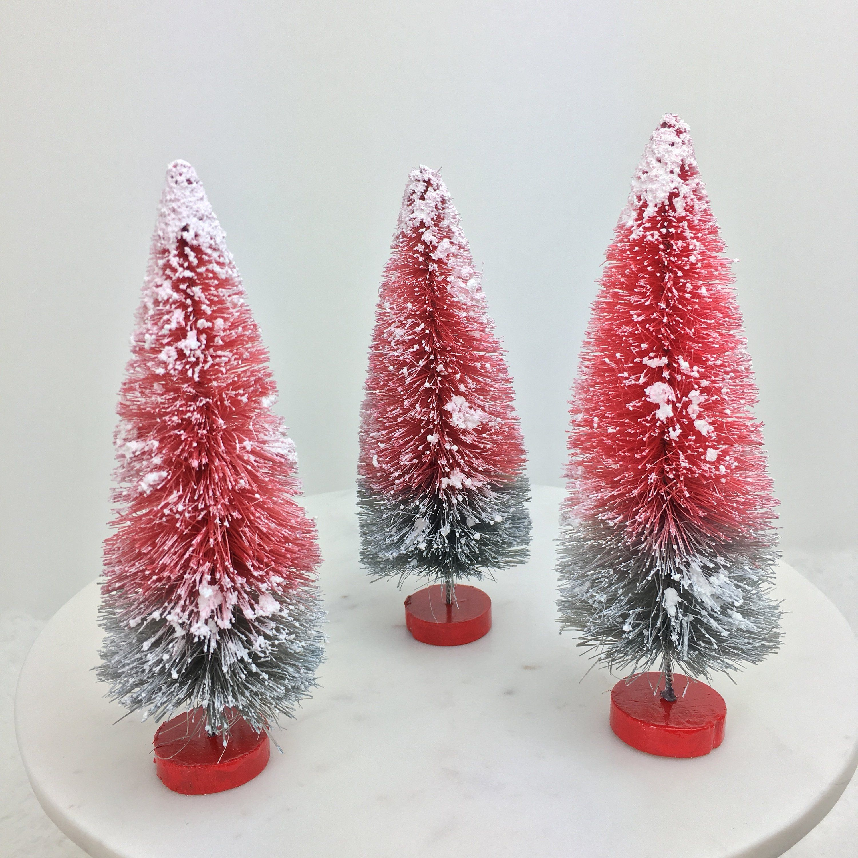 Scarlet and Gray Christmas Trees, OSU Buckeyes Flocked Bottle Brush ...