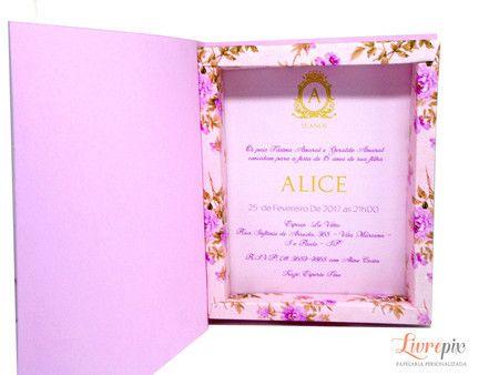 Convite Caixa Rosa Floral - Livrepix Convites e Papelaria Personalizada afdb410539