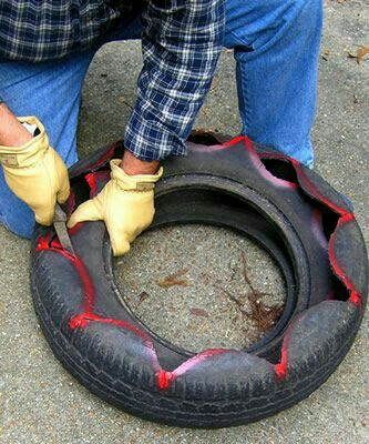 Reifen Deko pin mari mal mari auf gomas recicladas