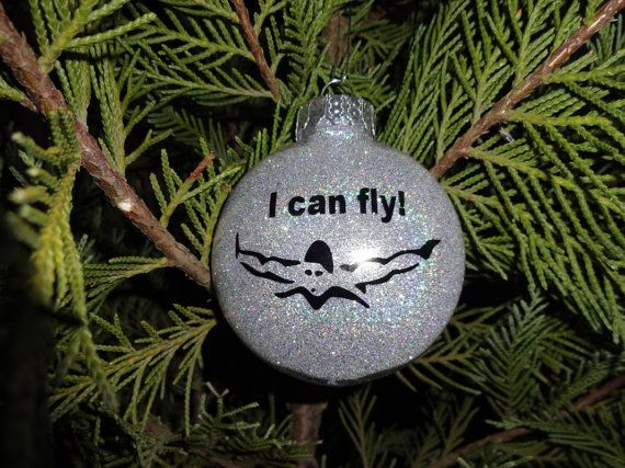 i can fly swim christmas ornament in your choice of colors perfect gift for the swimmer in your life other swim items available check my