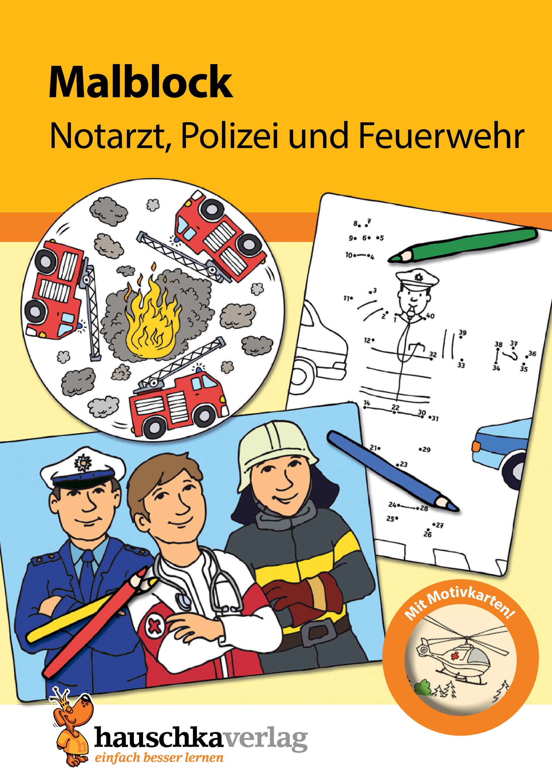 malblock  notarzt polizei und feuerwehr