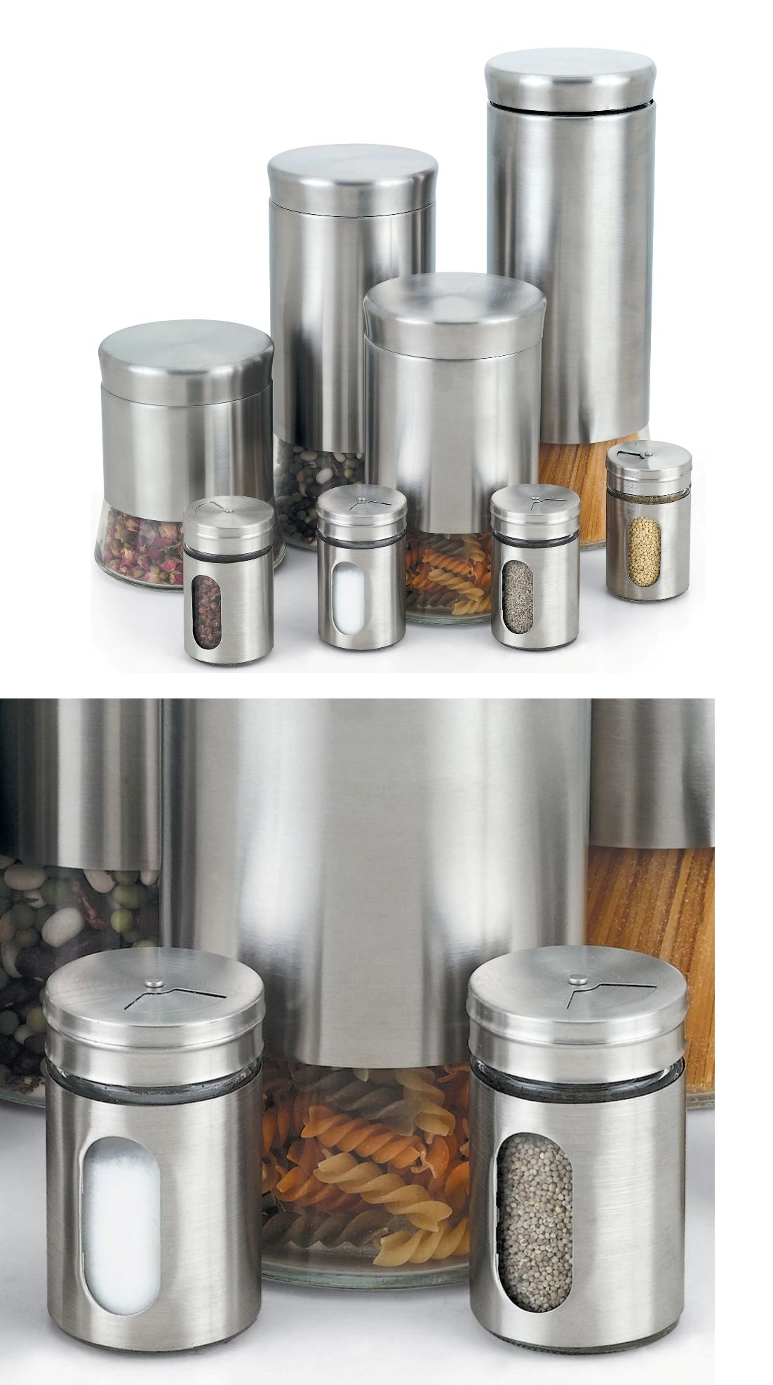 Canisters And Jars 20654 8 Piece Metal Kitchen Canister Set