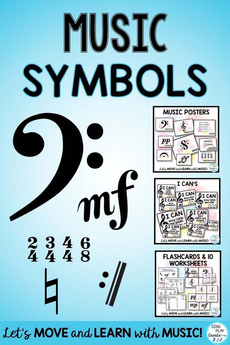 Music theory symbols presentation posters flashcards