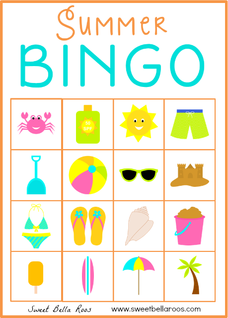 picture relating to Printable Bingo Cards for Kids referred to as Summer season Bingo - Free of charge Printable Vacations - Summer time Free of charge