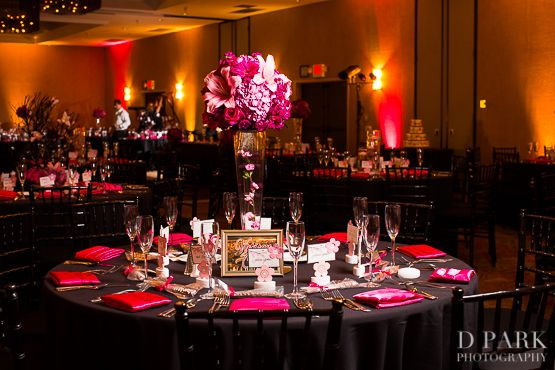 pink white black wedding centerpieces tables wedding lighting hotel maya wedding - Black Hotel Decoration