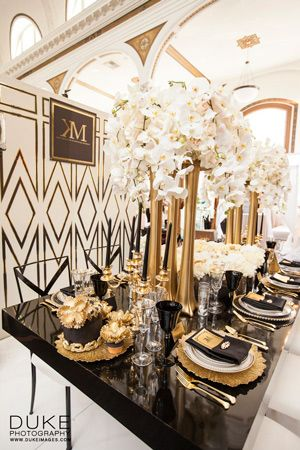 Gatsby inspired black and gold decorations, Kat Minassi Events wedding planner