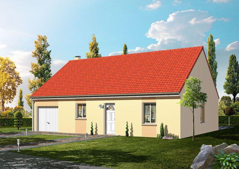 Modèle CYCLONE  Pavillon plain-pied avec garage comprenant cuisine ouverte sur le séjour, hall, salle de bains, WC, 3 chambres.   Surface habitable : 89,39m².