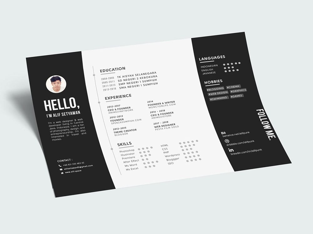 Free creative landscape resume template in psd file format