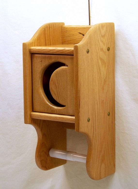 Wooden Toilet Paper Holder Oak Wood With Tissue Shelf