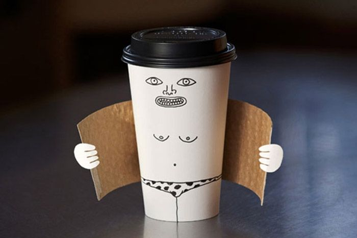 Exhibitionist coffee cup by Brock Davis