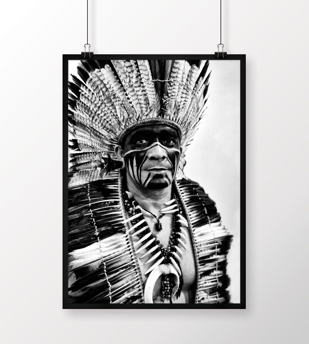 Indian chief street art fine art photography black and white