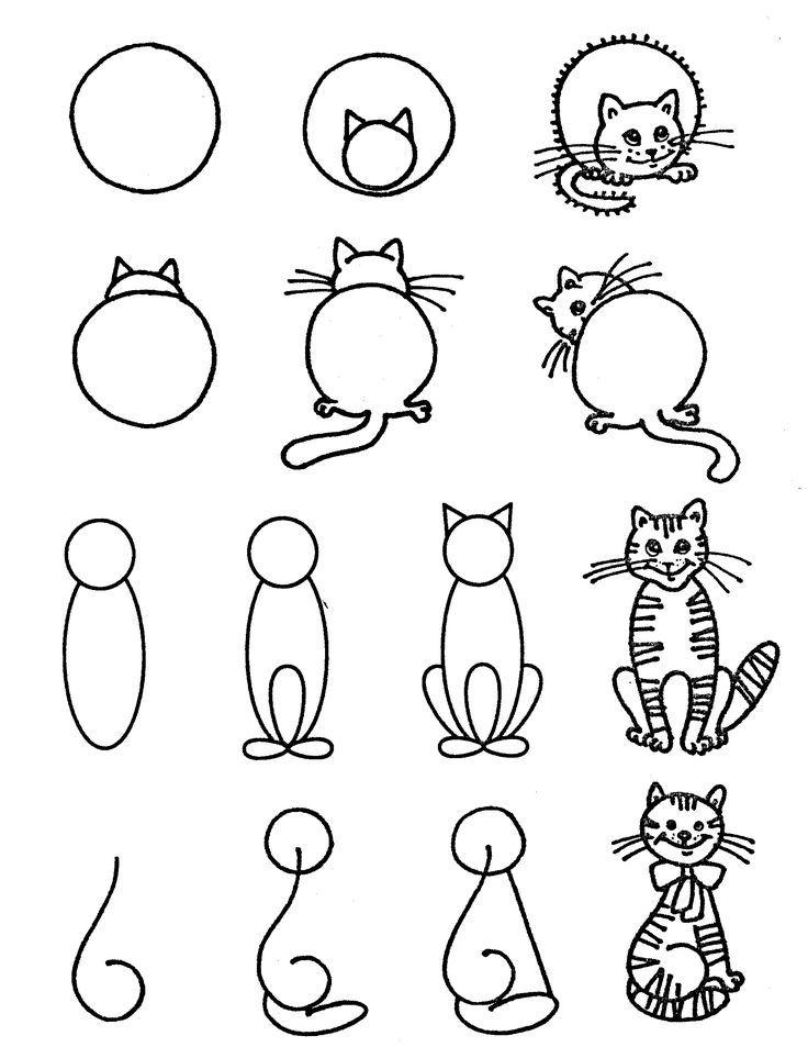 Dibujo De Gato Con Ninos Pequenos Skanirovanie Gatos Tiernos Malen Und Zeichnen Zeichnen Basteln Einfach Zeichnen