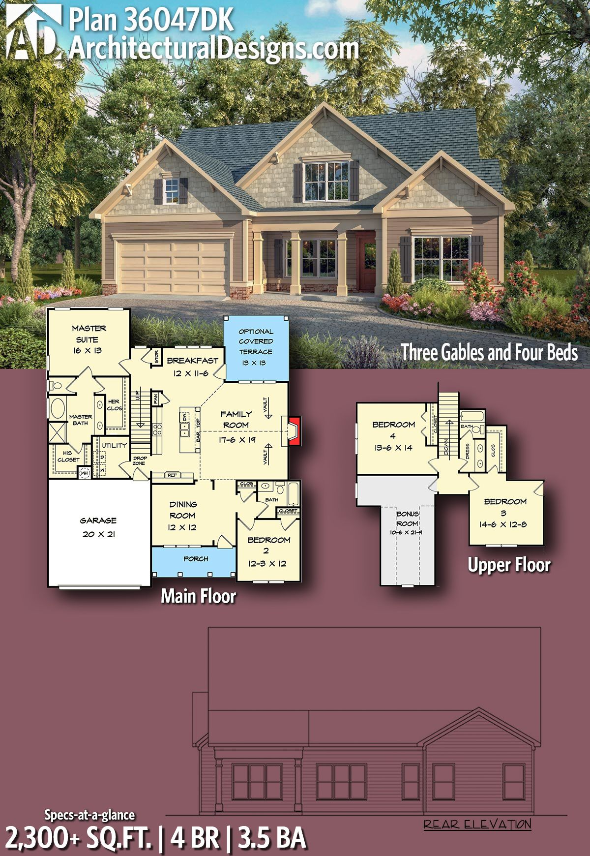 Architectural designs craftsman house plan dk br ba sq also three gables and four beds in plans mimari rh tr pinterest