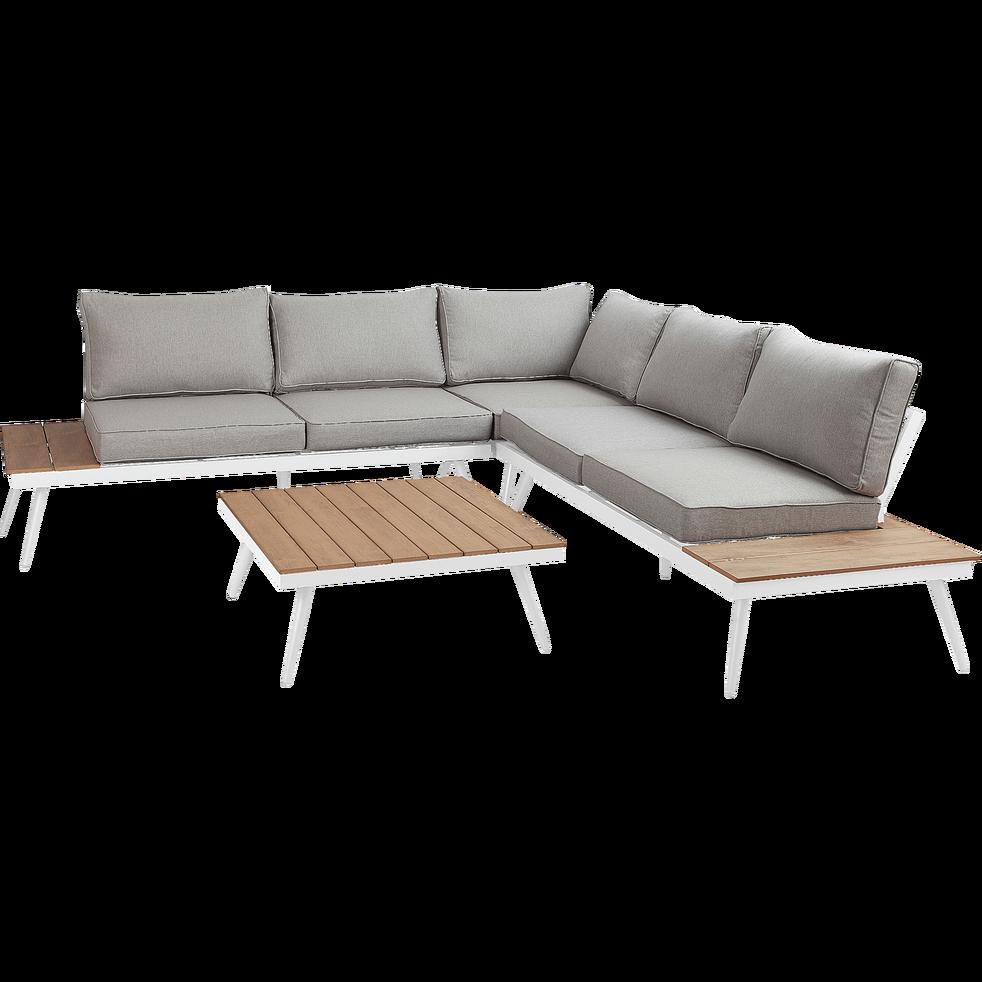 Salon de jardin gris en alu et polywood (4 à 6 places ...