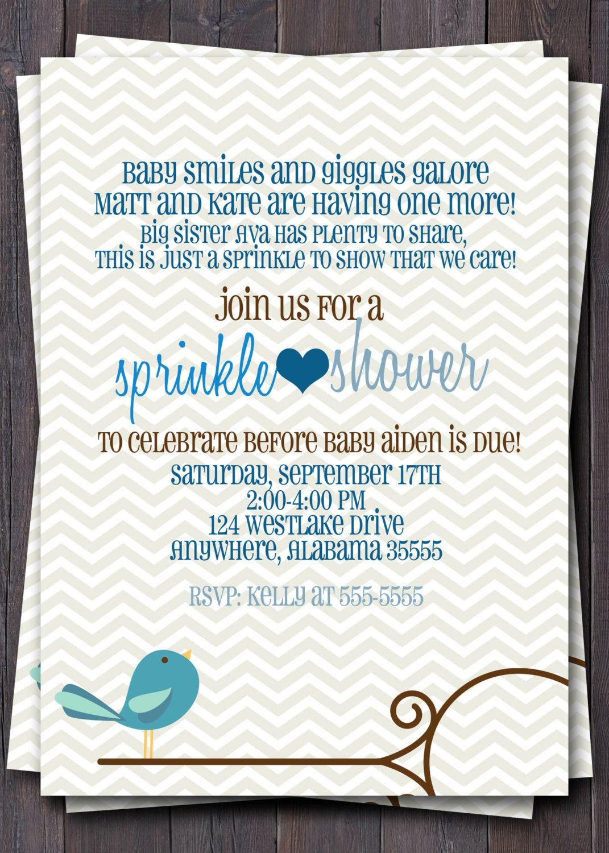 Baby Sprinkle, Baby Shower, or Sip n See Invitation -- Baby boy or ...