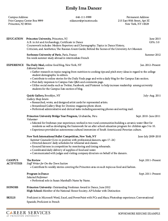 Sophomore Resume Examples Http Resumesdesign Com