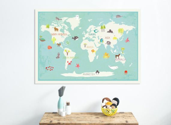 Our earth interactive world map wall art with by artsywallposters items similar to our earth interactive world map wall art with stickers kids animal world map gender neutral nursery children on etsy gumiabroncs Images