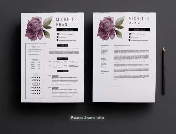 u00c9l u00e9gant mod u00e8le de page 2 cv    2 page cv  th u00e8me floral violet    lettre de motivation cr u00e9ative cv