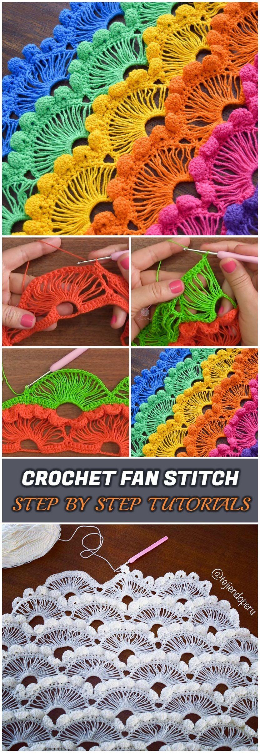 Crochet Fan Stitch - Step By Step Tutorials | háčkování | Pinterest ...