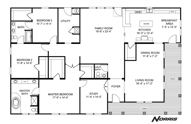 Interactive Floorplan The Norris Triple   NSC45723A   27NSC45723AH    Clayton Homes Of Fredericksburg