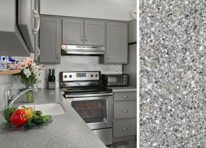 How to Pair Countertops with Gray Cabinets #graycabinets