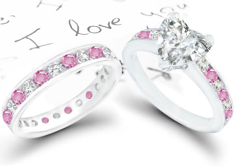awesome pink diamond wedding ring with diamond engagement ring - Pink Wedding Rings