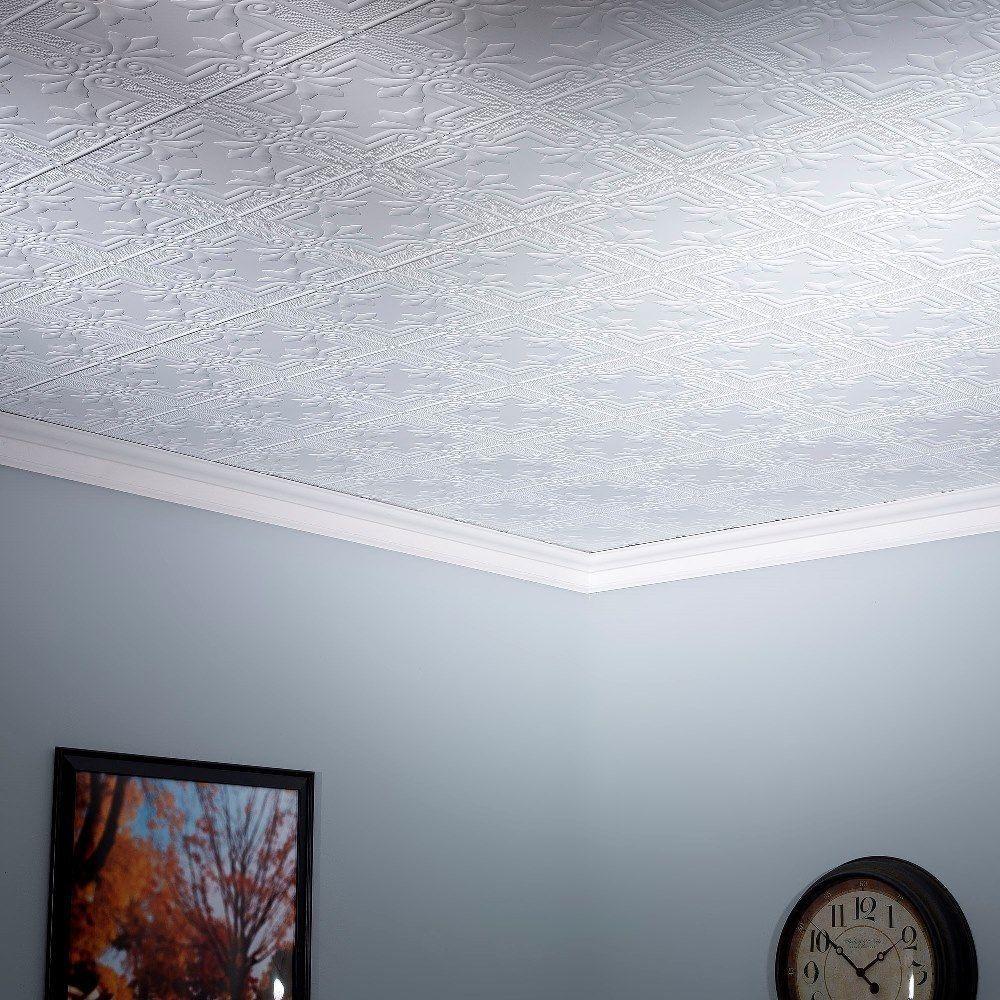 Fasade regalia matte white 2 foot x 4 foot glue up ceiling tile fasade regalia matte white 2 foot x 4 foot glue up ceiling tile dailygadgetfo Image collections